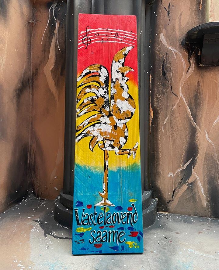 Plank decoratie, handgeschilderd